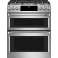"""CAFE C2S950P2MS1 - Caf(eback) 30"""" Slide-In Front Control Dual-Fuel Double Oven with Convection Range"""